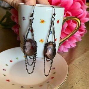Purple drop dangle earrings